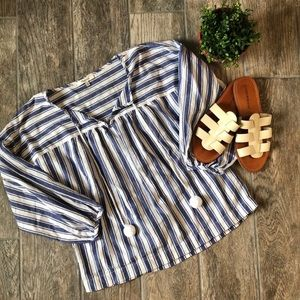 Madewell Striped Peasant Puff Ball Blouse
